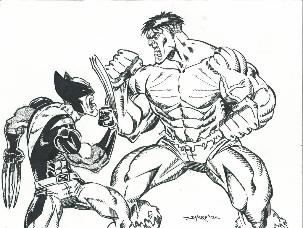 Wolverine vs hulk 2 final inks by fanboy67 on deviantart for Coloring pages wolverine