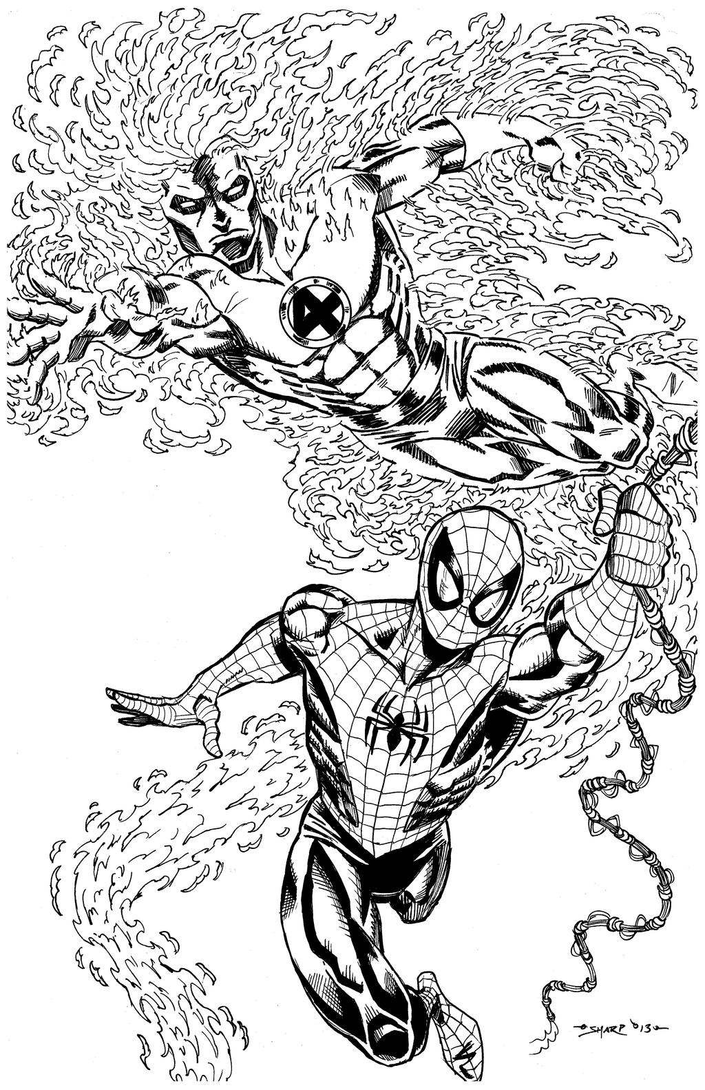 Coloring Pages Human Torch Coloring Pages spider manhuman torch commission by fanboy67 on deviantart fanboy67