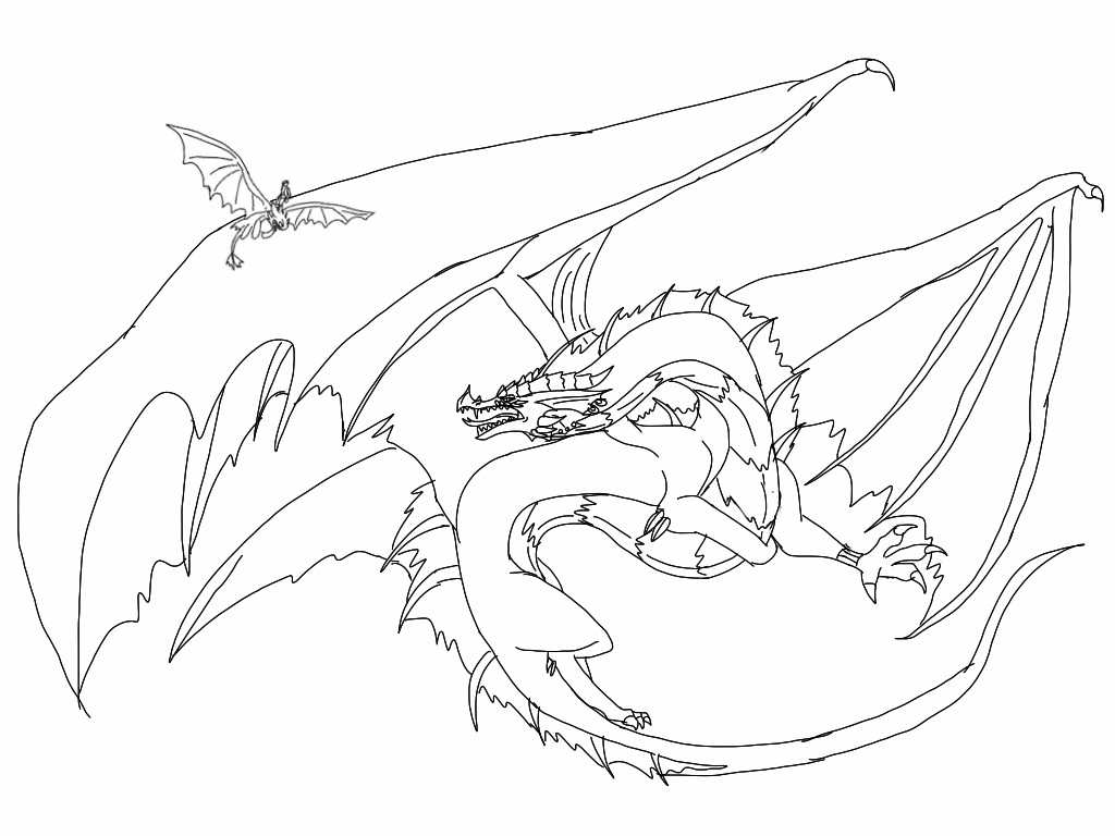 toothless and hiccup coloring pages - httyd hiccup and toothless vs red death 2 lineart by