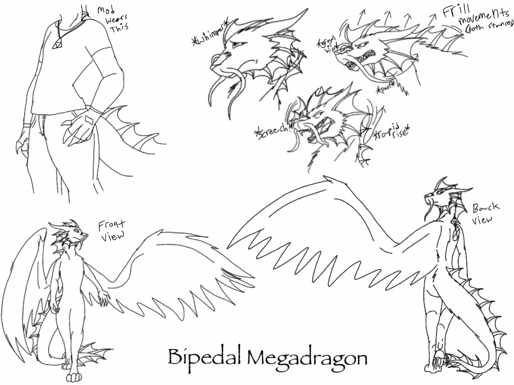 Megadragon's Bipedal Stance reference -sketch- by ShardianofWhiteFire