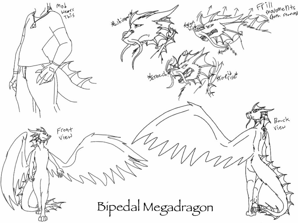 Megadragon's Bipedal Stance reference -sketch- by BlackDragon-Studios