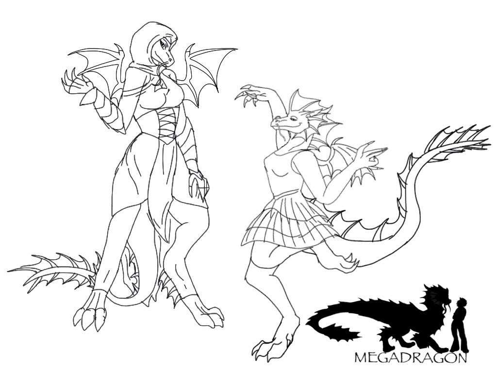 Anthro Megadragon sketches by BlackDragon-Studios