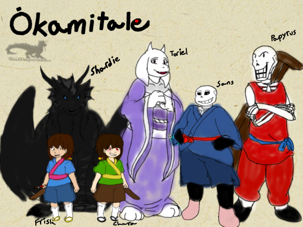 Undertale AU: Okamitale-Characters part 1 by BlackDragon-Studios on