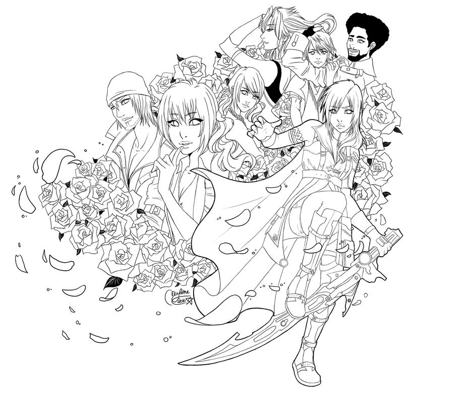 Final fantasy xiii lineart by utenaxchan on deviantart for Final fantasy coloring pages