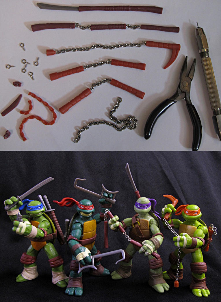 TMNT 2012 Custom Weapons Upgrade by Police-Box-Traveler