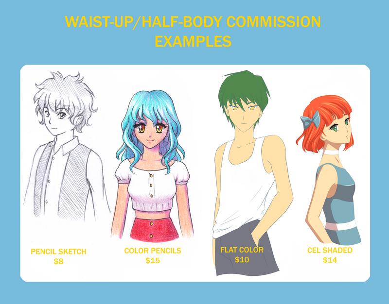 Waist-Up/Half-Body Commission Examples by HopelessPandora