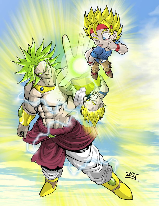 BROLY VS. GOKU AND VEGETA JR. by dovianax