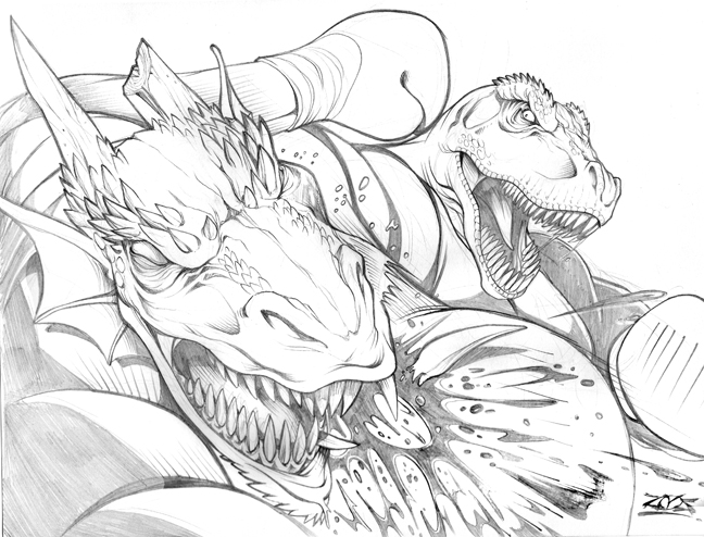 T rex vs dragon commission by dovianax on deviantart Egg Monsters Legends Coloring Pages Sabertooth Tiger VST Rex Sabertooth Tiger Coloring Pages