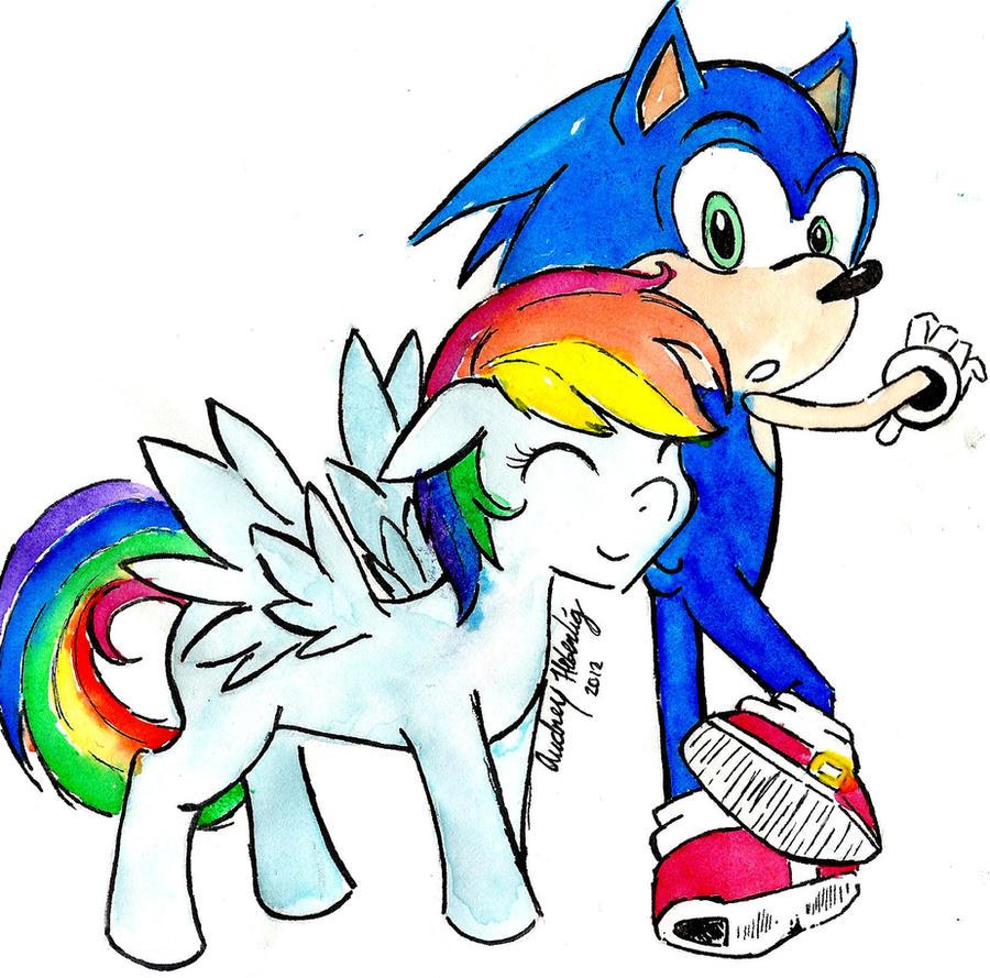 Sonic X Rainbow Dash [Water-color] by Akemi-Akatsuki