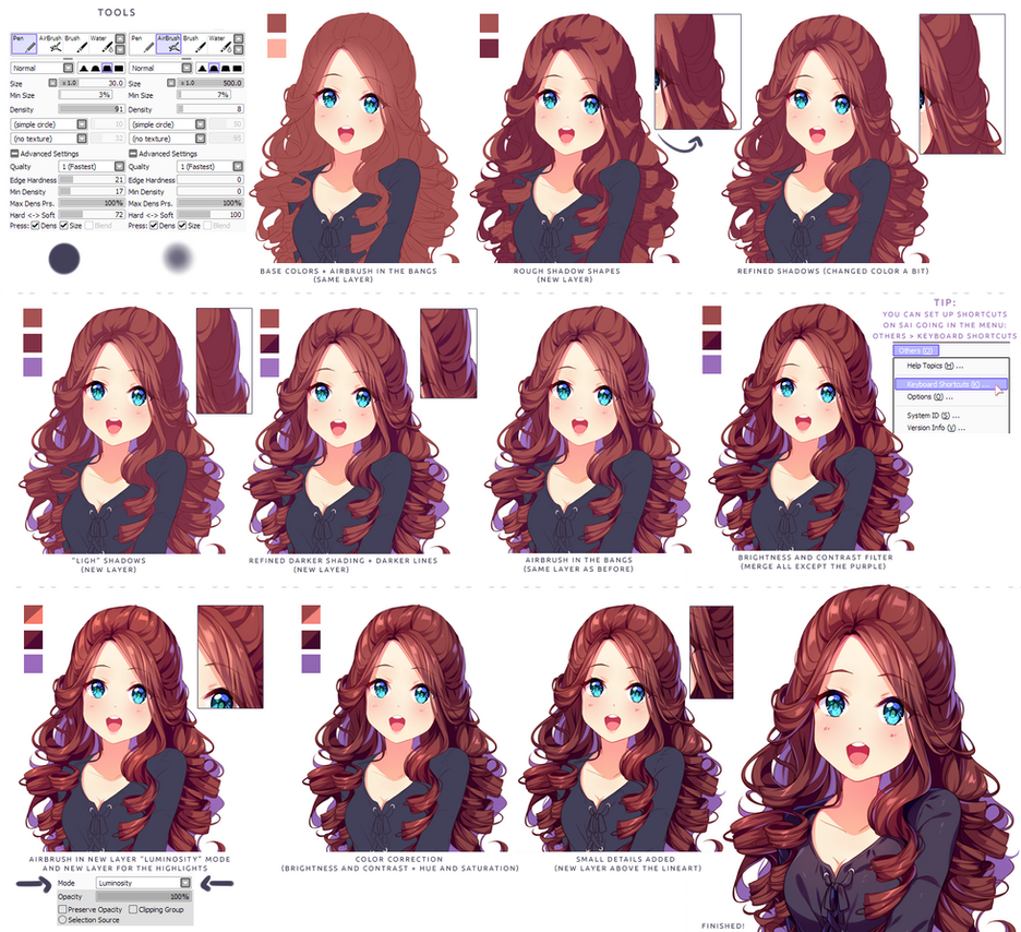Hyan Style - Shading curly brown hair by Hyan-Doodles
