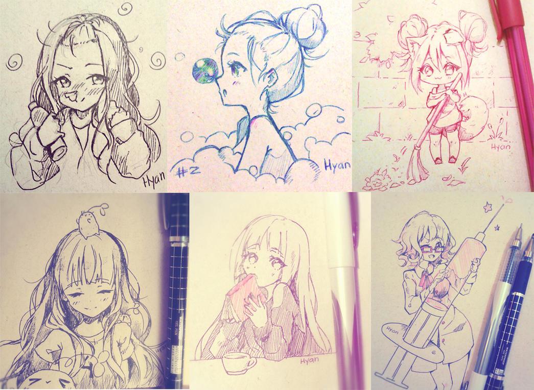 Inktober 1-6 by Hyan-Doodles