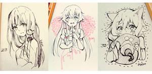 Inktober 28-30 by Hyan-Doodles