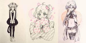 Inktober 1-3 by Hyan-Doodles
