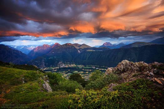 Sunset from above Valbonnais