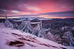Winter sunset from the Puy de la Vache
