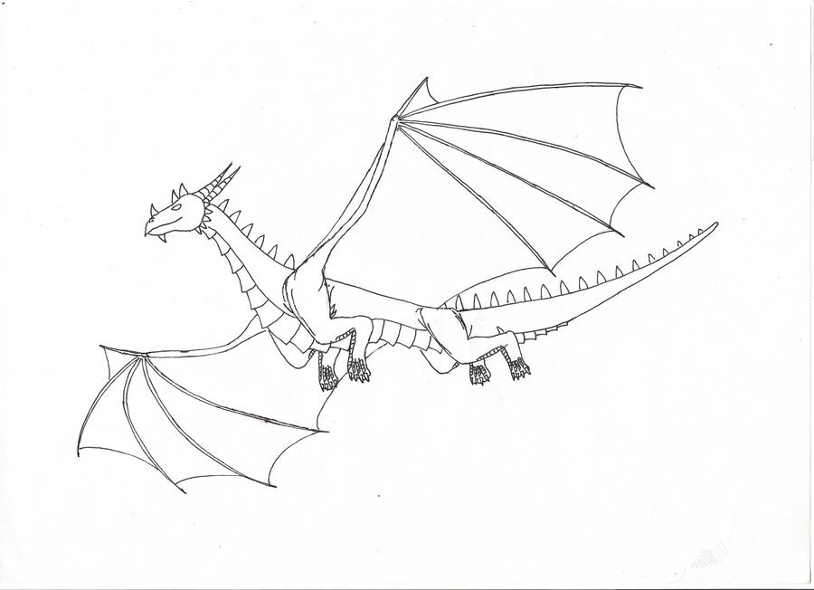 Easy Flying Dragon Drawings