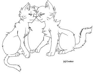 Cat Couple Lineart by MaxxHysteria