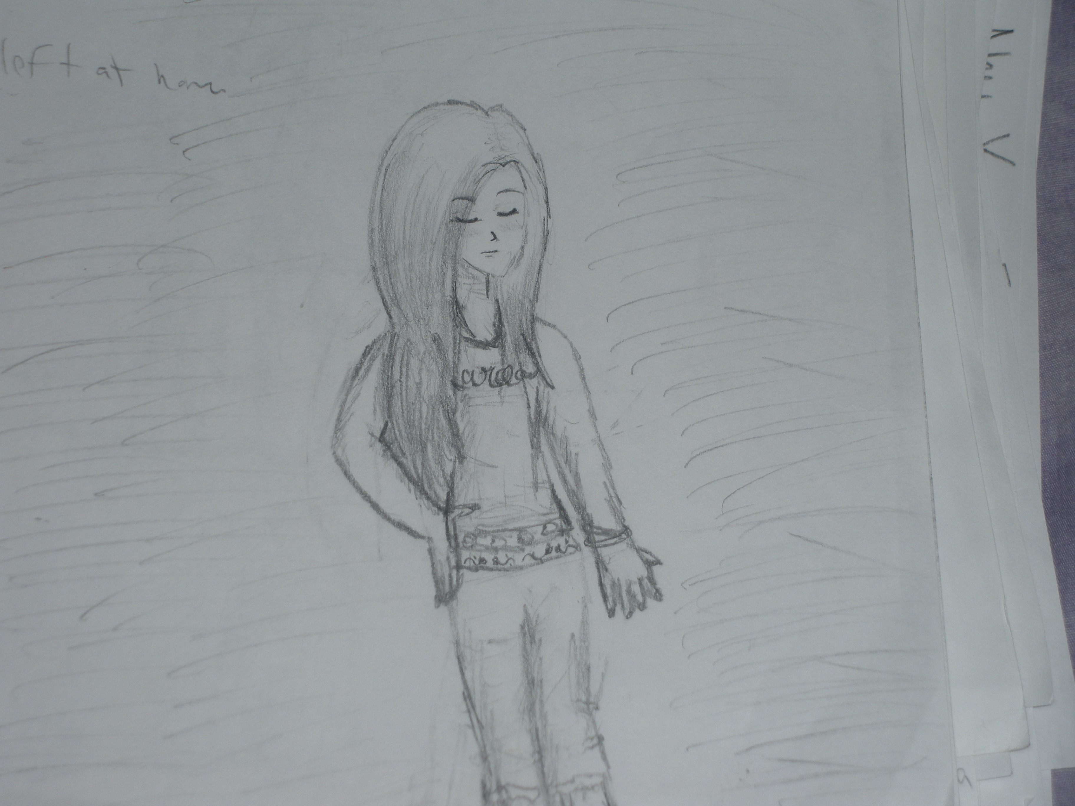 Girl looking down by tokibishiba on deviantart for How to draw a girl looking down