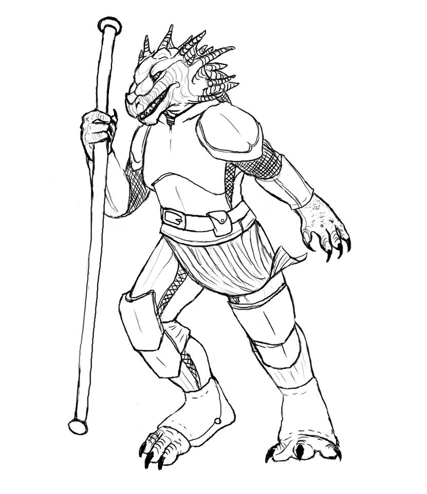 D Line Drawings : Commission dnd dragonborn by vpf on deviantart