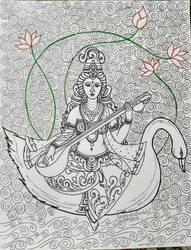Saraswati Mata by HemasriBordoloi