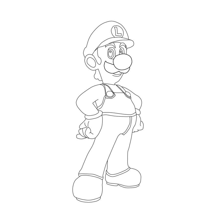 Luigi Lineart by SonicGMI-22
