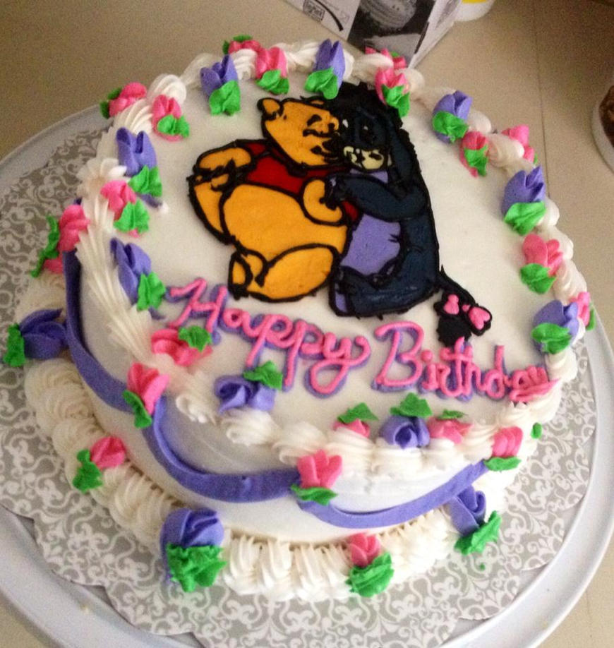 Winnie the pooh and Eeyore Cake by Crosseyed-Cupcake