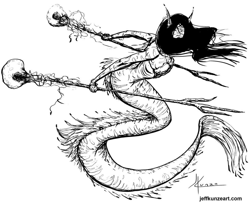 Mermaid warrior linework by JeffKunze