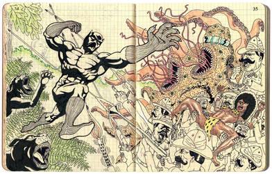 Black Panther vs. the Thing by benjaminmarra