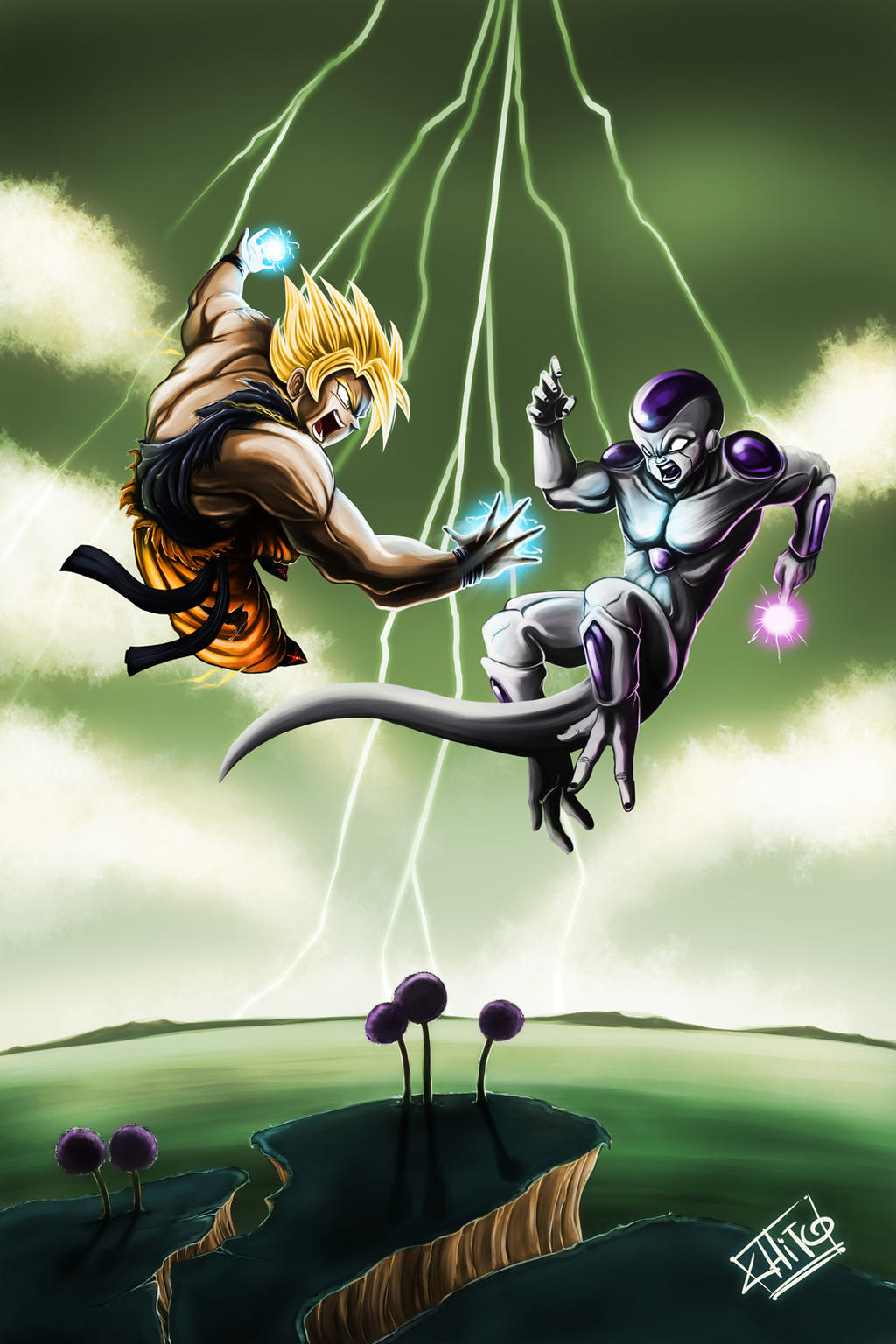 Goku vs Freezer by ManuDGI