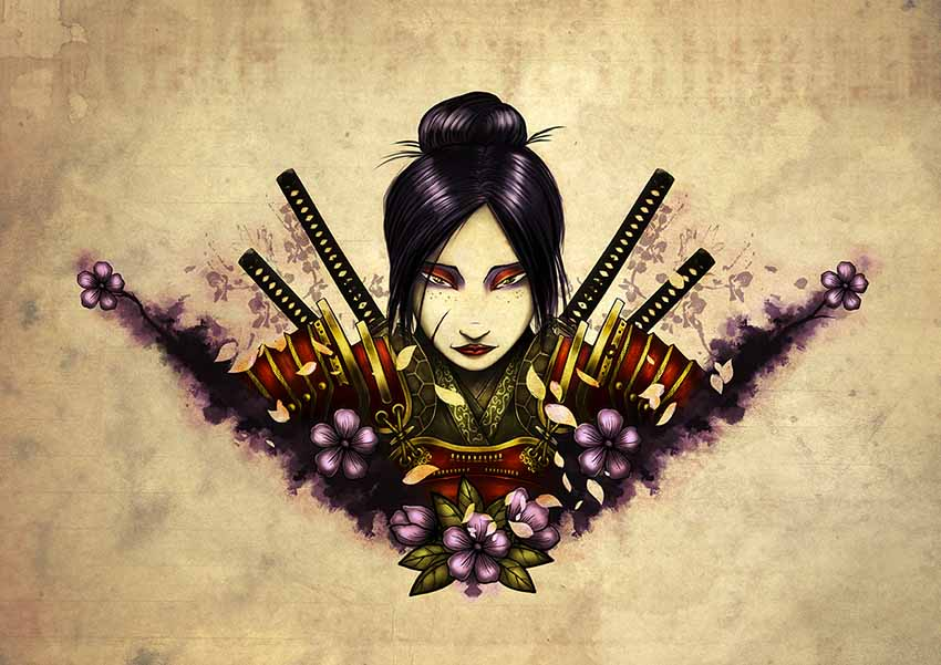 Female Samurai Tattoo Design by ManuDGI