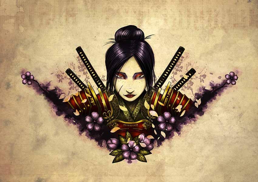 Female samurai tattoo design by manudgi on deviantart for Female samurai tattoo