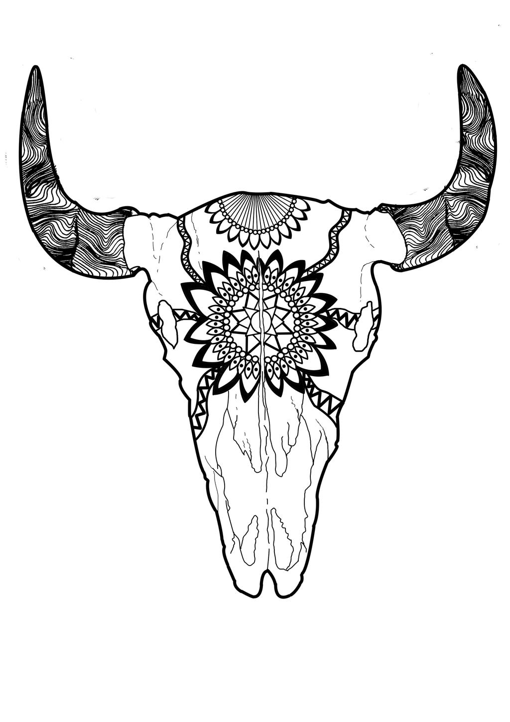 Psychedelic Skull Coloring Pages Print