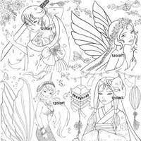 4 Fantasy Coloring Pages