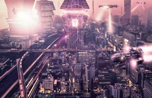 Sci fi Tokyo photoshop manipulation art