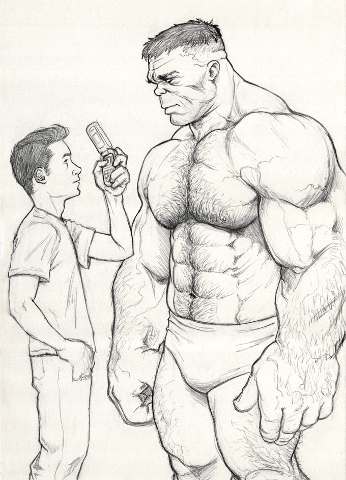 The Hulk and Rick Jones sketch by NMRosario