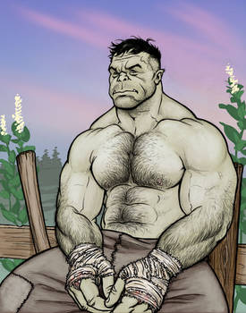 Uerl the Half-Orc in color
