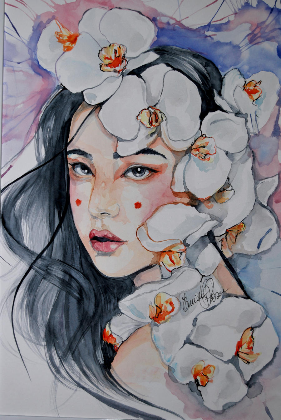 Geisha watercolor by fairiesndreams