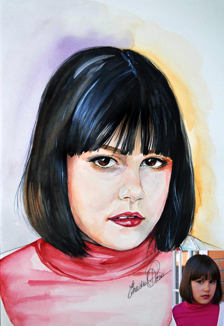 watercolor portrait Vanessa . by fairiesndreams