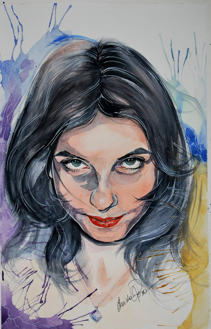 Badass Laura watercolor portrait by fairiesndreams
