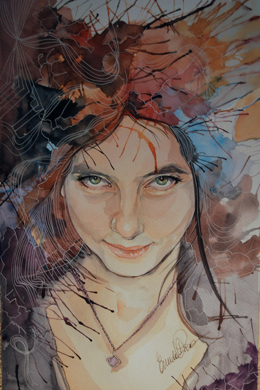 Whats in your head Laura Portrait watercolor by fairiesndreams