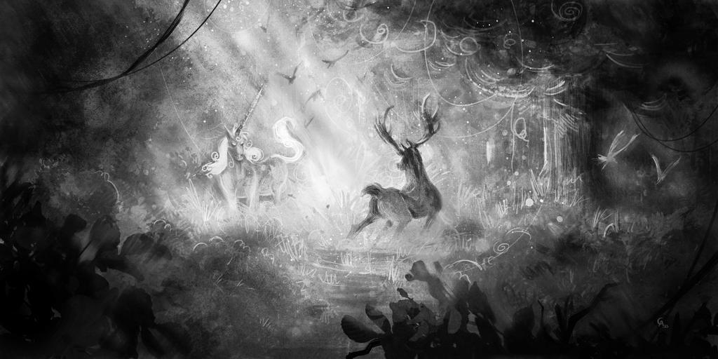 Cerf Vs Licorne by ghislainavrilllon