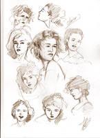 Claire Fraser head sketches by aryundomiel