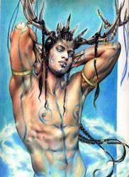 Cernunnos the Horned God by aryundomiel