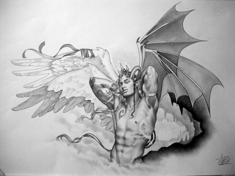 Angel demon tatoo design by aryundomiel
