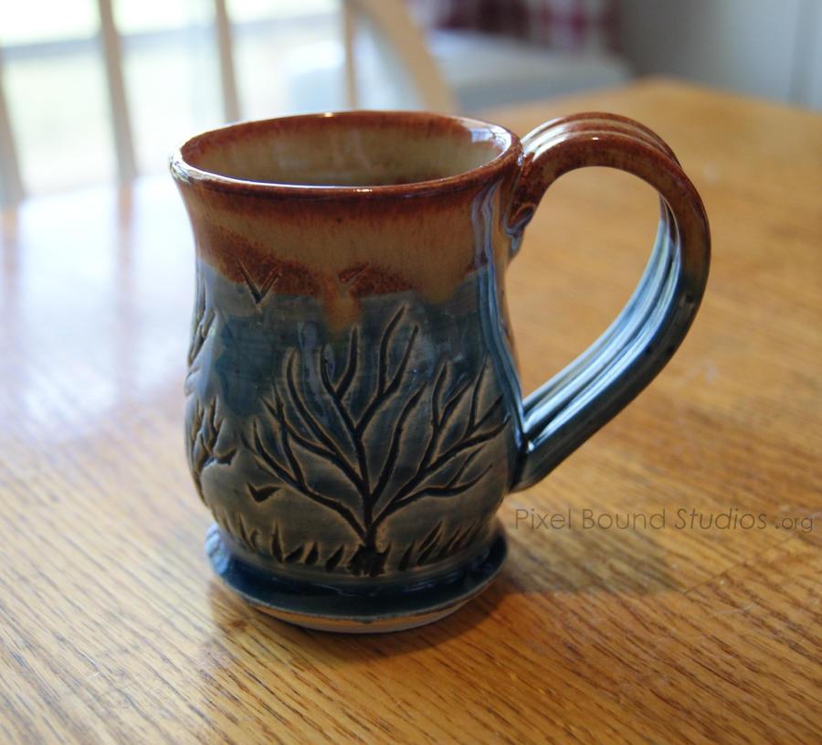 Ceramic Blue Tree Themed Mug by ashynekosan