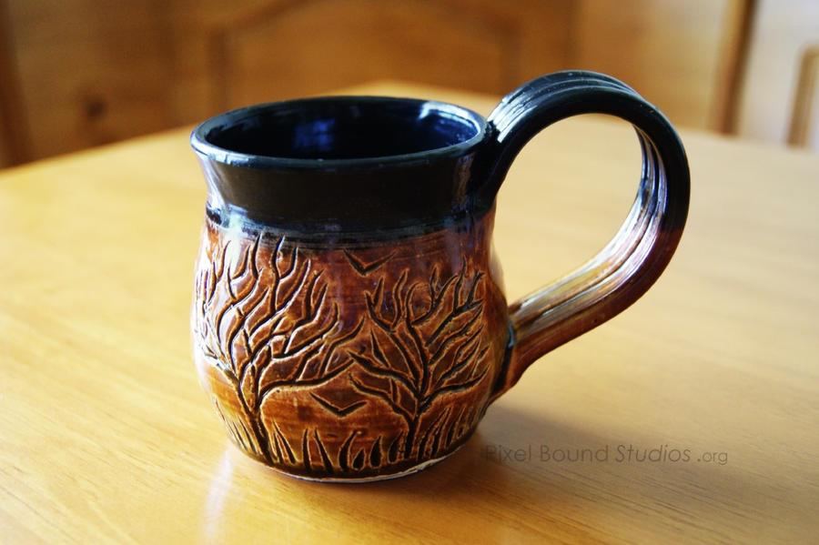 Ceramic Brown and Black Tree Themed Mug by ashynekosan