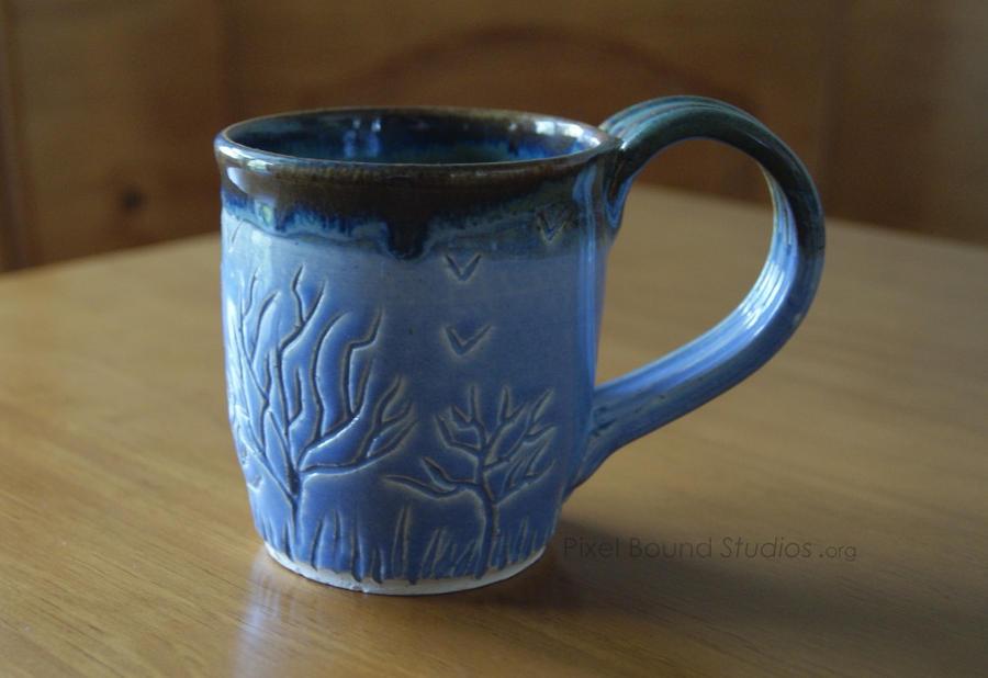 Light Blue Tree Themed Ceramic Mug by ashynekosan