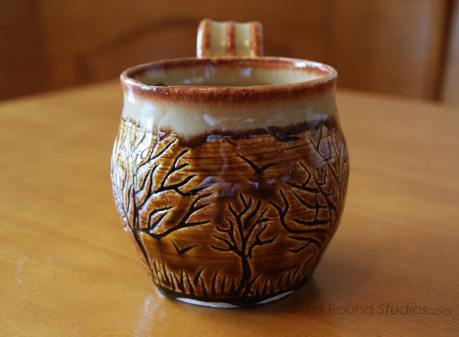Ceramic Brown and Beige Tree Themed Mug by ashynekosan