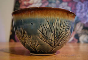 Blue Tree Themed Ceramic Bowl by pixelboundstudios
