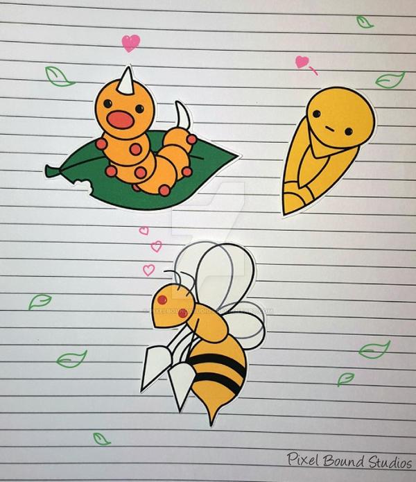 Weedle/Kakuna/Beedrill Stickers by pixelboundstudios